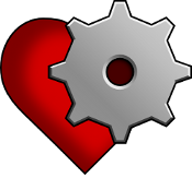 Future Proof Games logo - a heart with an embedded gear